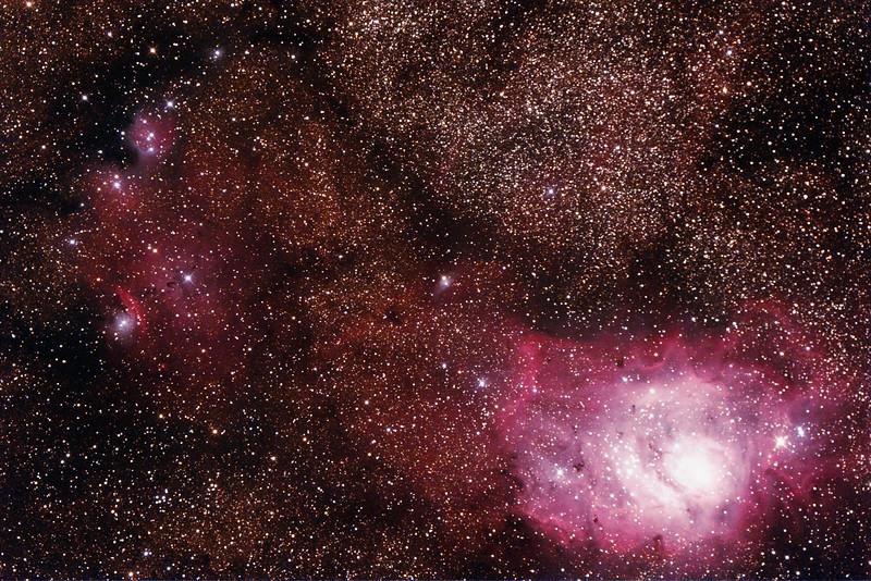 IC1274-5 Gum75 & NGC6429 Nebula with IC4685 Dark Nebula in Sagittarius (near M8 Lagoon Nebula) - 26/9/2014 (Processed stack)