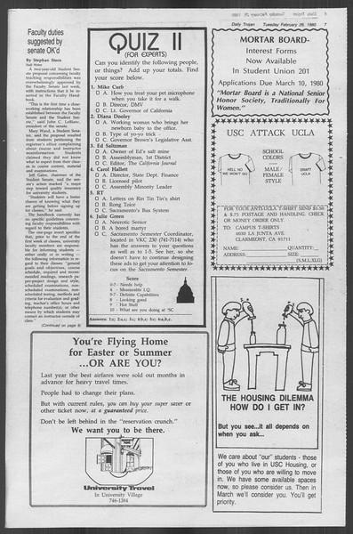 Daily Trojan, Vol. 88, No. 15, February 26, 1980