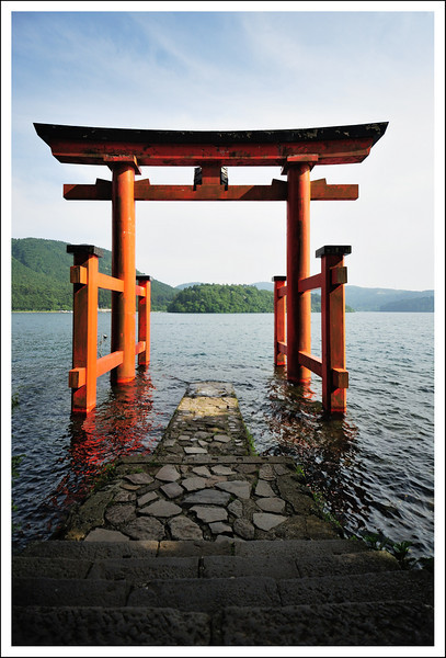 Hakone shrine's torii in the lake.