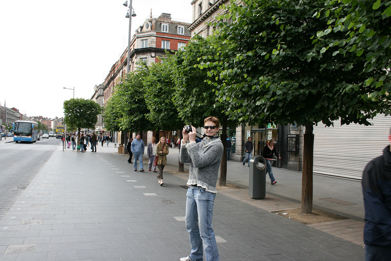 Jackie taking pictures on O'Connell Street.