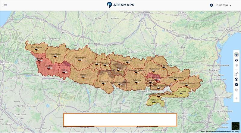 Zonas cubiertas por ATESMAPS en el análisis de riesgo de aludes en el Pirineo