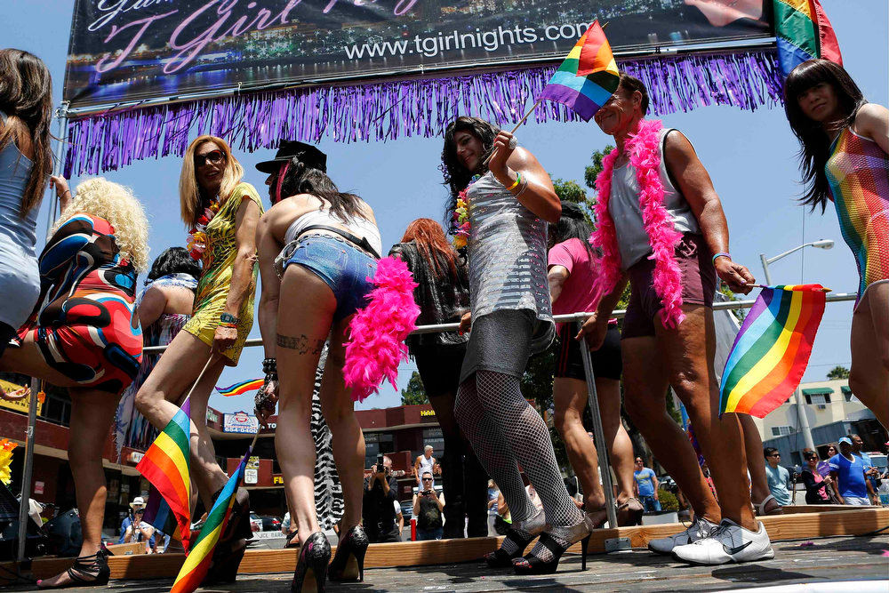 . Revelers express themselves during the 43rd annual L.A. LGBT Pride Parade in West Hollywood, California June 9, 2013. The parade celebrates the lesbian, gay, bisexual and transgender communities in Los Angeles. REUTERS/Patrick T. Fallon