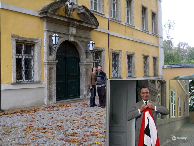 Frohnburg Castle - Front door. I love the scene where the Captain tears down the Nazi flag.