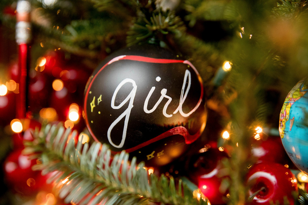 ". The Library of the White House is decorated during a preview of the 2016 holiday decor, Tuesday, Nov. 29, 2016, in Washington. Ornaments on display spell out the word ""girls\"" in 12 different languages, paying homage to the First Lady\'s Let Girls Learn initiative. (AP Photo/Andrew Harnik)"