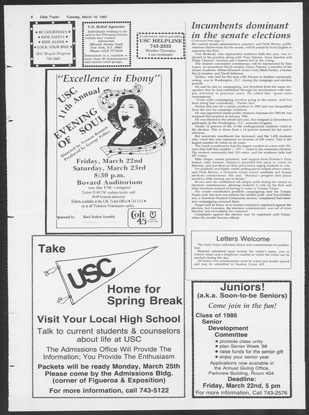 Daily Trojan, Vol. 98, No. 46, March 19, 1985