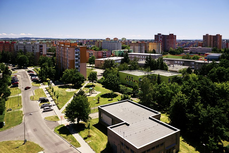 Pohled z Hotelového domu na sídliště Povel