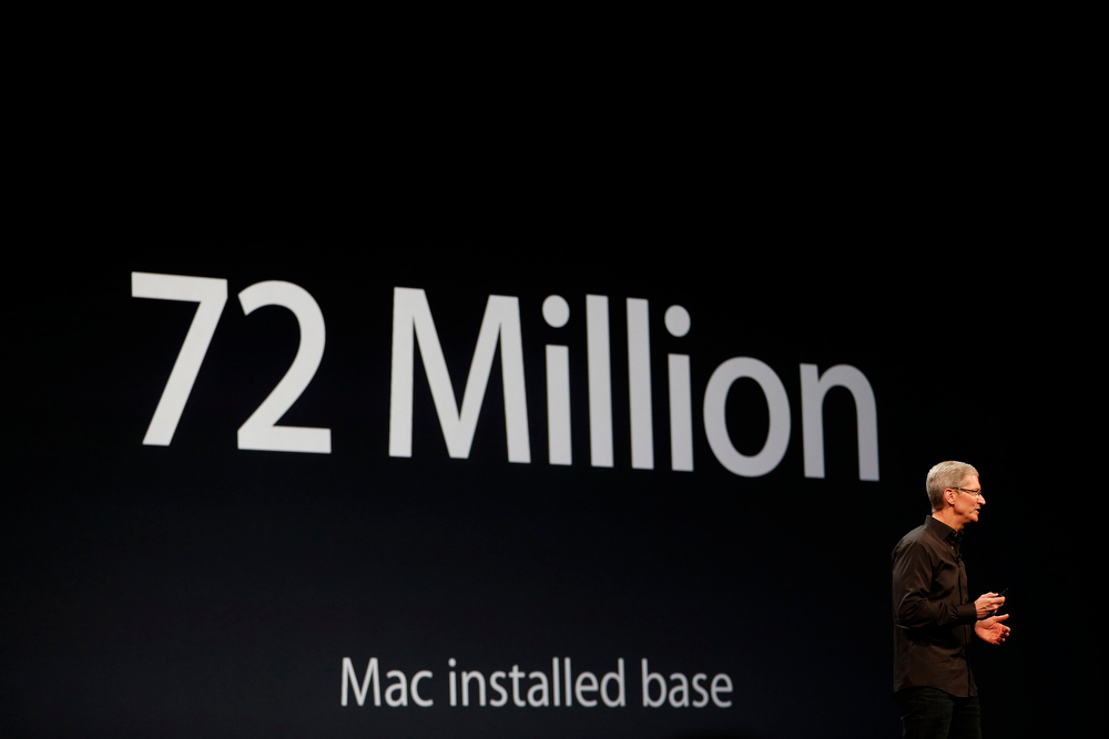 . Apple Chief Executive Tim Cook speaks on stage during the Apple Worldwide Developers Conference (WWDC) 2013 in San Francisco, California June 10, 2013. REUTERS/Stephen Lam