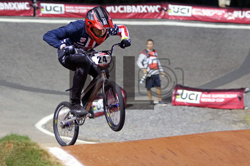 Corben Sharrah (24) of the United States races at the UCI BMX Supercross World Cup Round 8 at Rock Hill, S.C., on Saturday, Sept. 14, 2019.