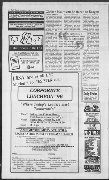 Daily Trojan, Vol. 129, No. 35, October 17, 1996