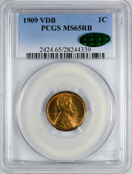1909 CENT - LINCOLN, VDB WHEAT PCGS MS65 RED BROWN CAC Obverse