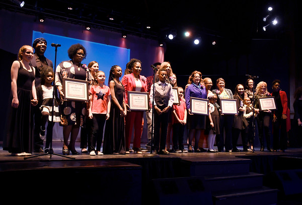 3/24/2018 Mike Orazzi | Staff Honorees on stage during The Queen Ann Nzinga Center's 9th annual Connie Wilson Collins Exceptional Women Concert, honoring outstanding women from the Greater Bristol, Plainville and New Britain community, held at Trinity on Main Saturday evening.