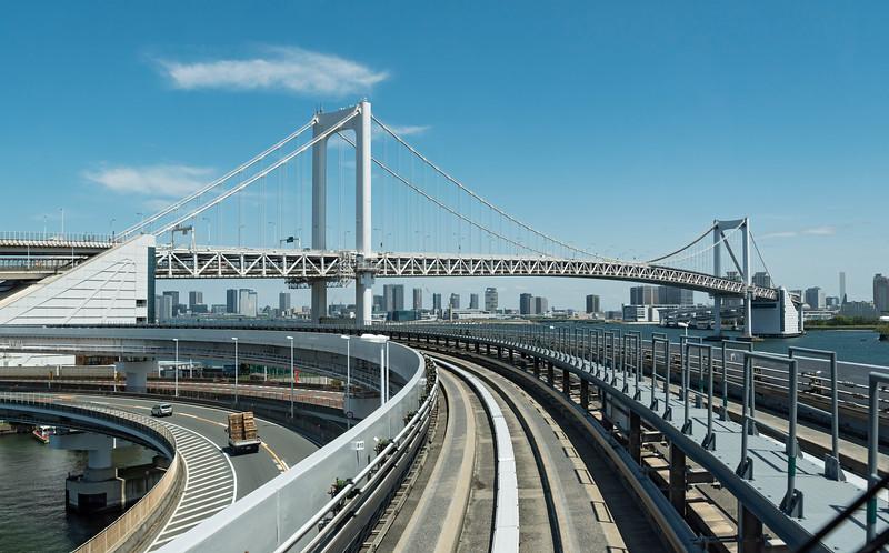 Rail tracks on Rainbow Bridge, Tokyo, Japan