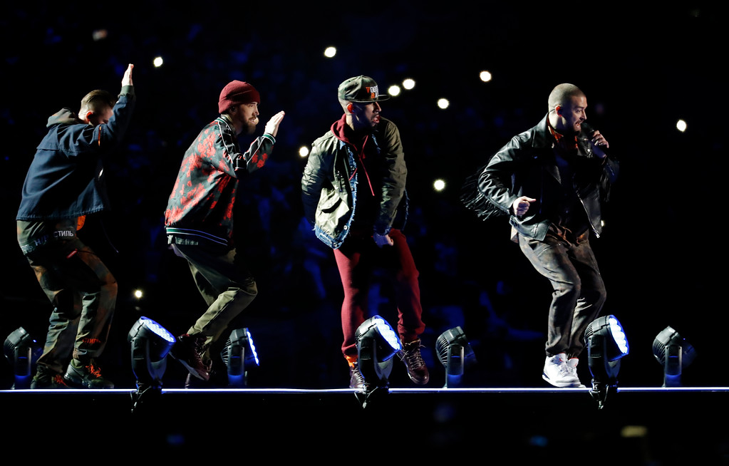 . Justin Timberlake performs during halftime of the NFL Super Bowl 52 football game between the Philadelphia Eagles and the New England Patriots, Sunday, Feb. 4, 2018, in Minneapolis. (AP Photo/Charlie Neibergall)