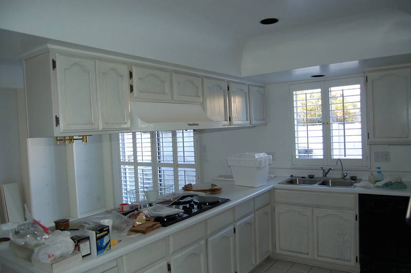 This kitchen was just so chopped up with the soffits and cabinets. U-shaped kitchen.