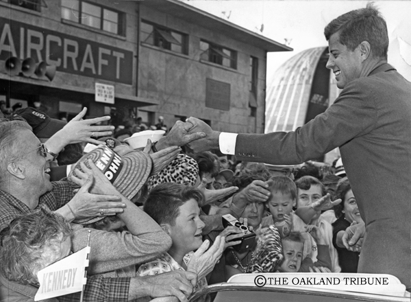 . Sunnyvale, CA November 2, 1960 - Senator Kennedy shakes the hands of admirers at Moffett Field. (Chris Kjobech / Oakland Tribune Staff Archives)