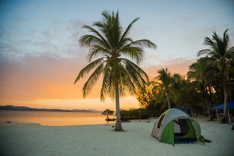 Beach camping in the Philippines