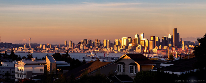 Seattle skyline at sunset, view from West Seattle