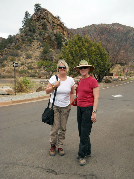 MEV AND MARY IN THE CHISOS This was Mev's first visit to Big Bend, so we just had to take her up into the Chisos Basin and show her around. It's the jewel in the crown.