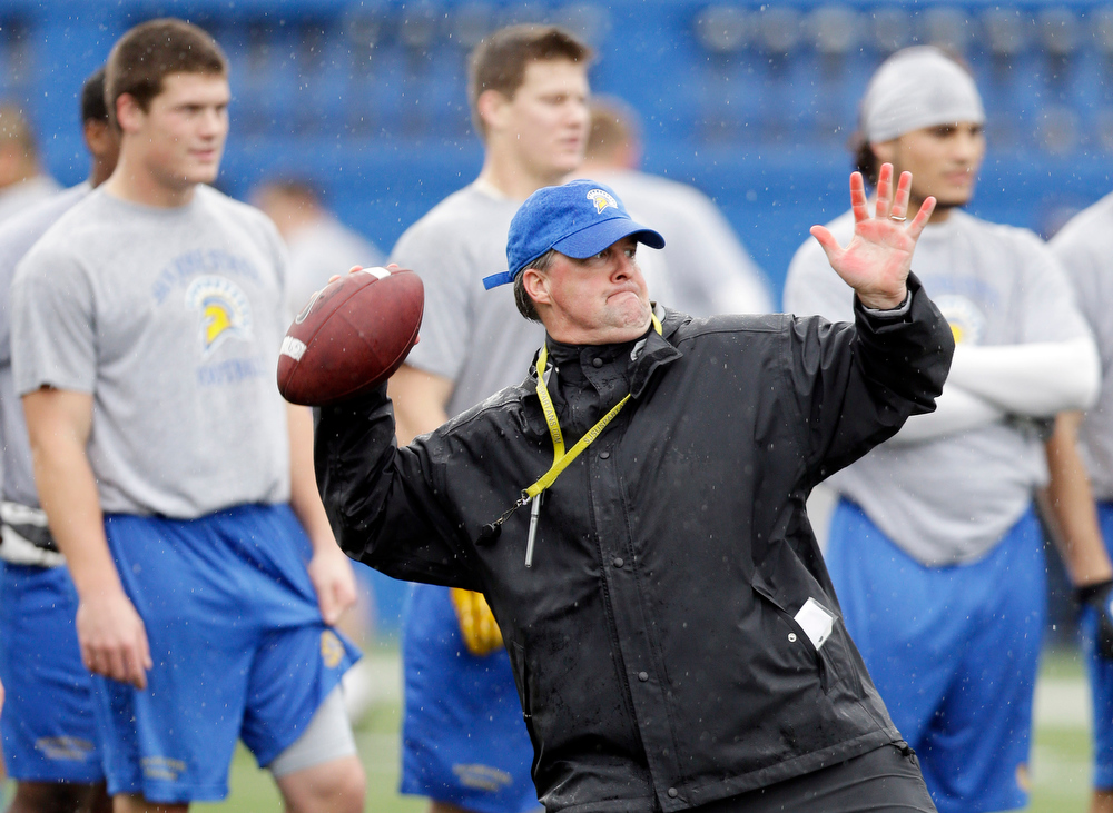 . In this photo taken Wednesday Nov. 28, 2012, San Jose State head coach Mike MacIntyre works on catching drills with his team during NCAA college football practice in San Jose, Calif. (AP Photo/Marcio Jose Sanchez)
