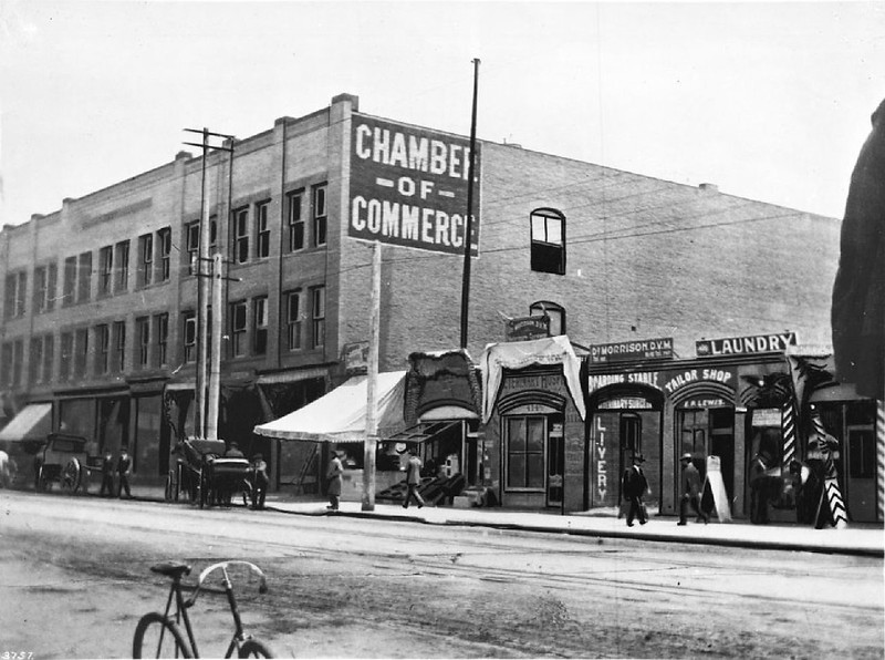 Exterior view of the Chamber of Commerce building on Broadway at Fourth Street, Los Angeles, ca.1900