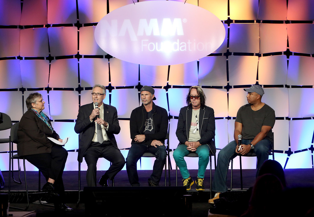 . ANAHEIM, CA - JANUARY 24:  NAMM Foundation Executive Director Mary Luehrsen, NAMM President and CEO Joe Lamond, Drummer Chad Smith, recording artist Todd Rundgren and Baseball player Bernie Williams attend the 2014 National Association of Music Merchants show at the Anaheim Convention Center on January 24, 2014 in Anaheim, California.  (Photo by Jesse Grant/Getty Images for NAMM)