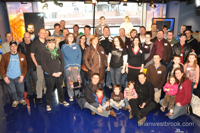 Group photo at KGW Studio on the Square Tweetup #SquareUp 11 Mar 2009 at KGW's new Pioneer Courthouse Square Studios in Portland, Oregon.