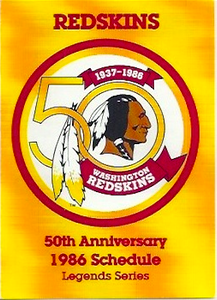 1986 Redskins Frito Lay Schedules
