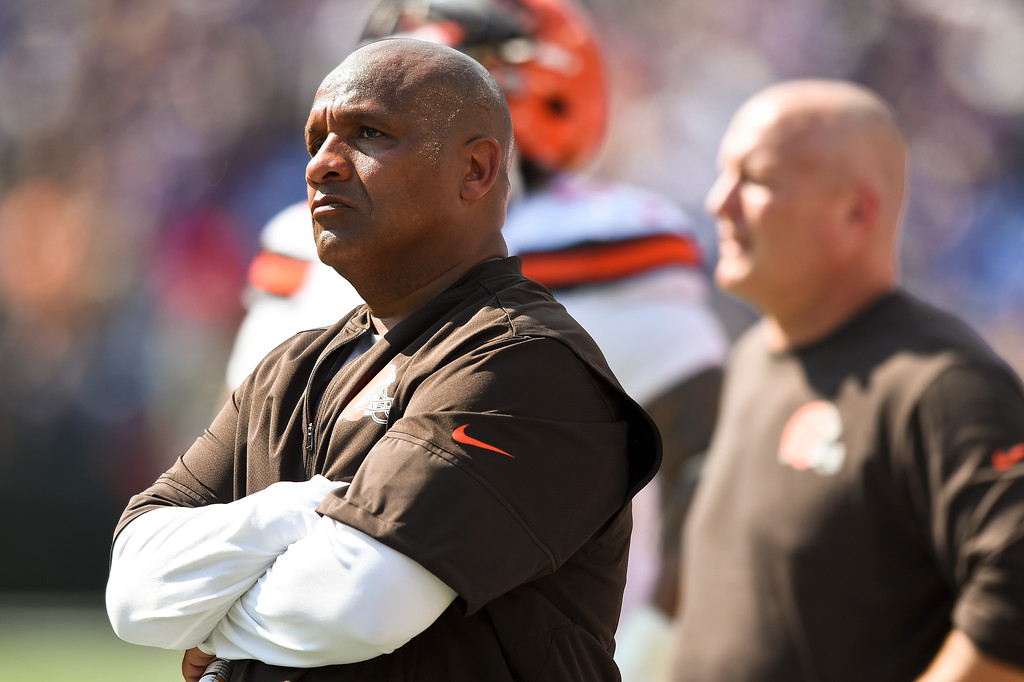 . Cleveland Browns head coach Hue Jackson watches the action from the sidelines during the first half of an NFL football game against the Baltimore Ravens in Baltimore, Sunday, Sept. 17, 2017. (AP Photo/Gail Burton)