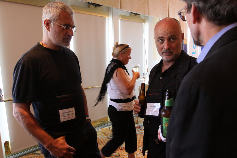 """(L-R) Louie Psihoyos, Director and Filmmaker, """"The Cove""""; Kelly Webb, Assistant to SNS Programs Director; David Brin, Author and Physicist; and Russ Daggatt, Founding Partner, Denny Hill Capital"""
