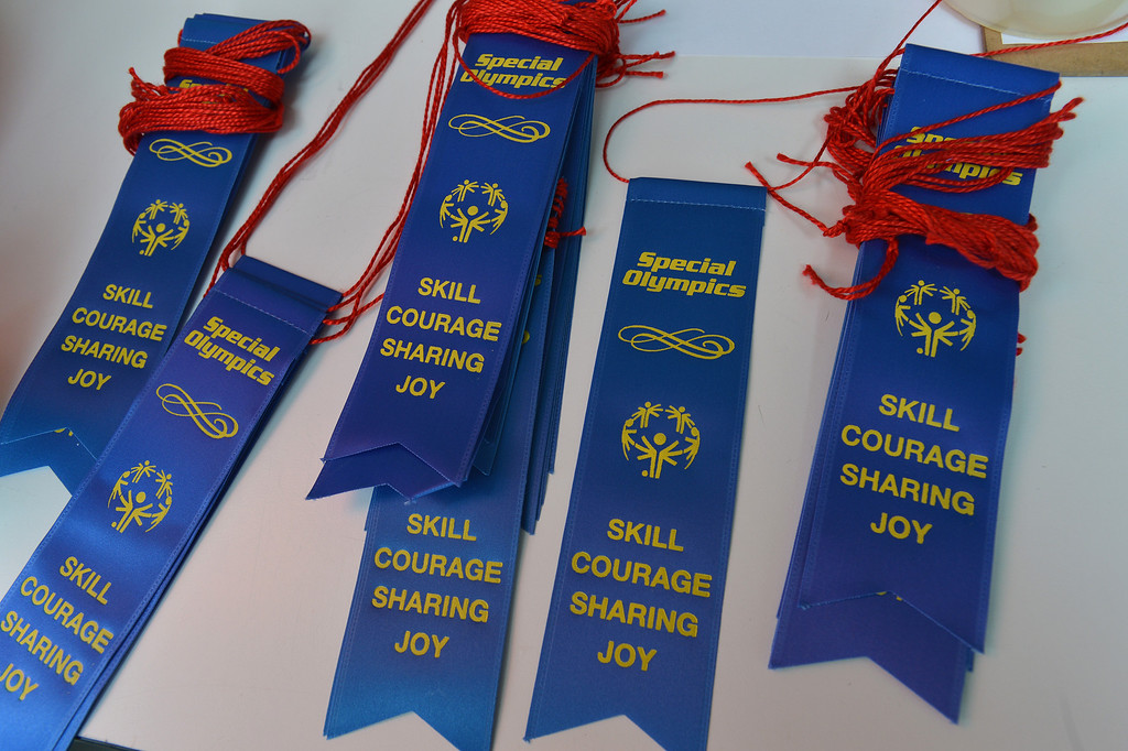. Ribbons wait on a table to be given out to every student that took part in the Special Olympics basketball skills event at Turner Elementary School in Antioch, Calif., on Friday March 8, 2013.  (Dan Rosenstrauch/Staff)