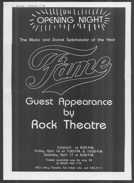 Daily Trojan, Vol. 91, No. 59, April 15, 1982
