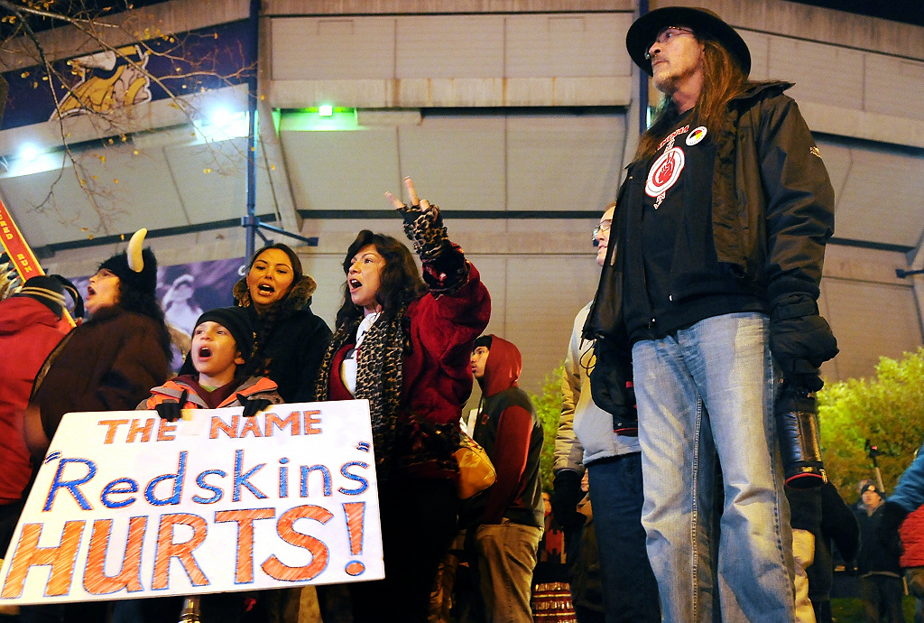 ". Demonstrators gather outside the Metrodome in Minneapolis in protest of the Washington football team\'s name, the ""Redskins.\"" (Pioneer Press: John Autey)"