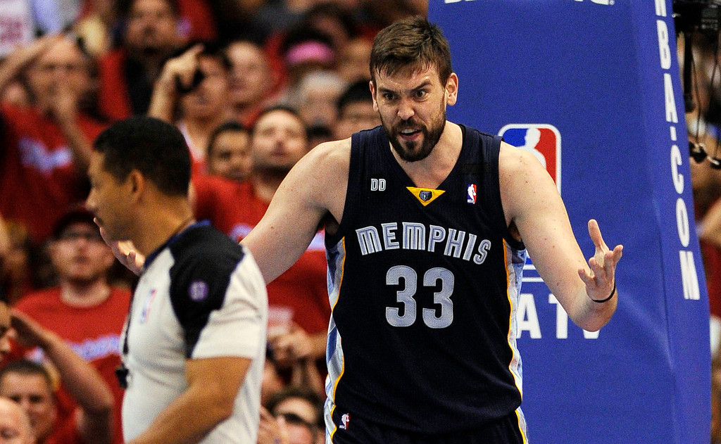 . The Grizzlies\' Marc Gasol #33 reacts to being called for a foul during their first round Western Conference Playoff game against the Clippers at the Staples Center in Los Angeles Saturday, April 20, 2013. The Clippers beat the Grizzlies 112-91. (Hans Gutknecht/Staff Photographer)