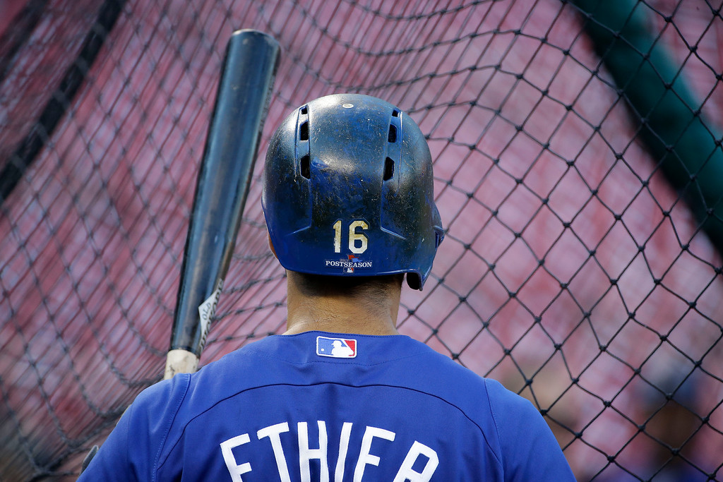 . Los Angeles Dodgers\' Andre Ethier waits to bat before Game 1 of the National League baseball championship series against the St. Louis Cardinals, Friday, Oct. 11, 2013, in St. Louis. (AP Photo/David J. Phillip)