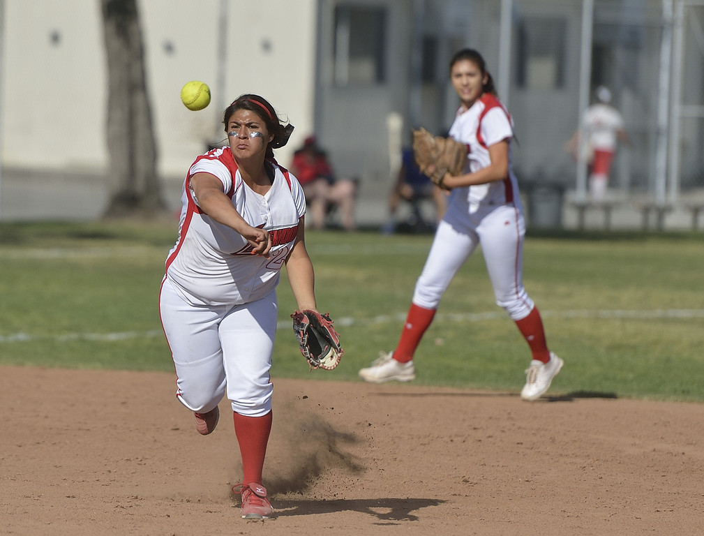 . LONG BEACH, CALIF. USA -- Lakewood\'s Brianna Carillo (21) against Wilson in Lakewood, Calif., on May 2, 2013. Lakewood defeated Wilson 11-1 in five innings.  Photo by Jeff Gritchen / Los Angeles Newspaper Group