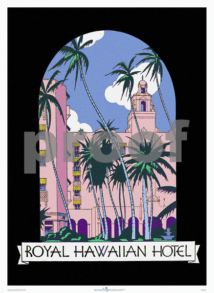 107: 'Royal Hawaiian Hotel'  Menu cover -- ca 1955. (PROOF watermark will not appear on your print)