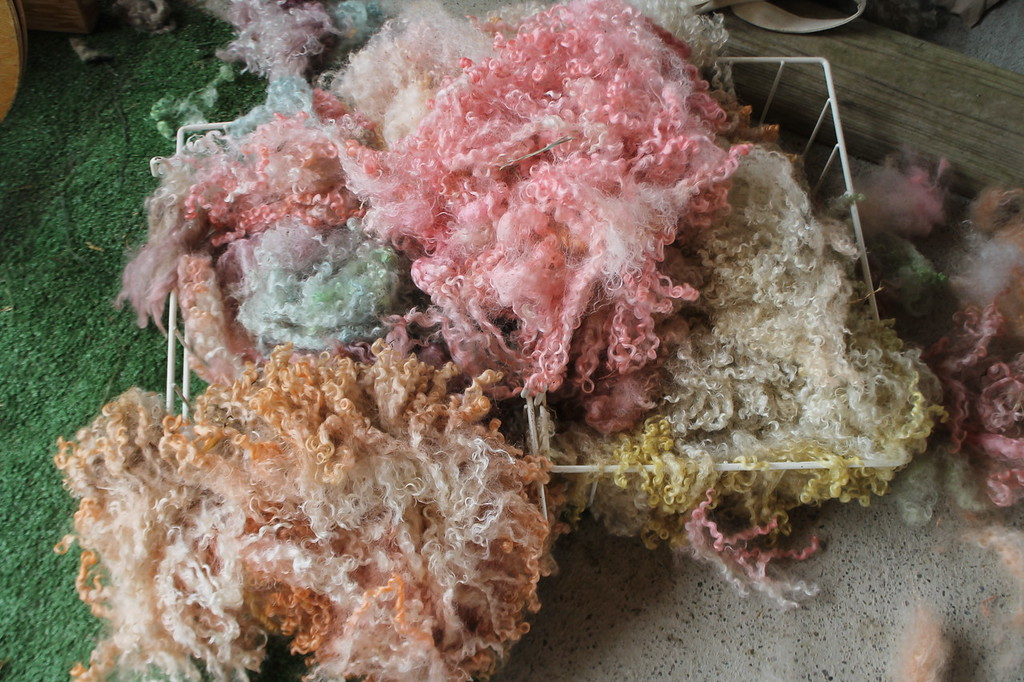 . Yarn spun from fleece sheared off a sheep that had been dyed in rainbow colors with Kool-aid and water was available for purchase during the Farmpark\'s sheep shearing weekend May 12-13. Kristi Garabrandt - The News-Herald