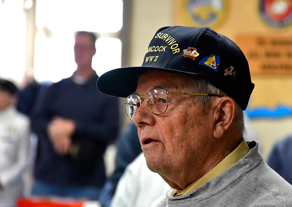 12/7/2018 Mike Orazzi | Staff Marcel Simoneau during a Pearl Harbor ceremony at American Legion Post 2 in Bristol Friday morning.