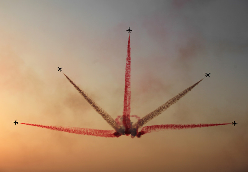 . The Saudi Hawks Display Team performs Thursday, Jan. 16, 2014, at the Bahrain International Airshow in Sakhir, Bahrain. Bahrain\'s state news agency said the International Airshow opened to announcements of more than $3 billion in agreements. (AP Photo/Hasan Jamali)