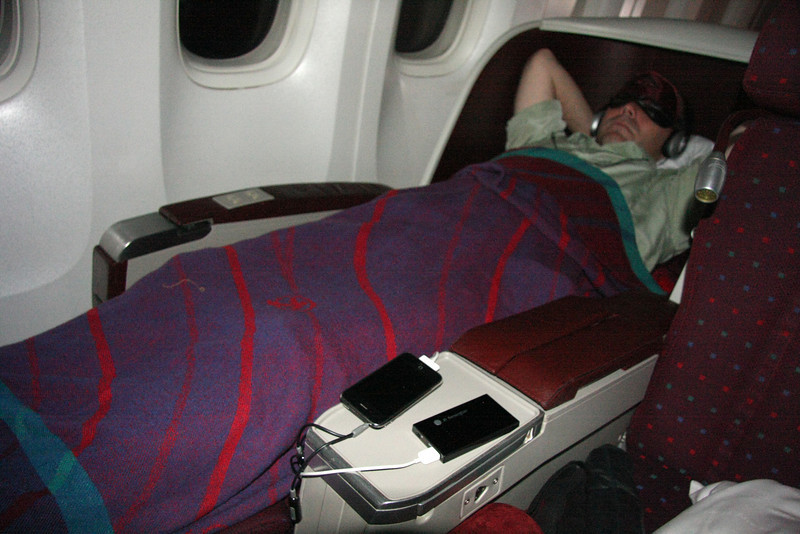 Getting some sleep in Kenya Airways' awesome business class!