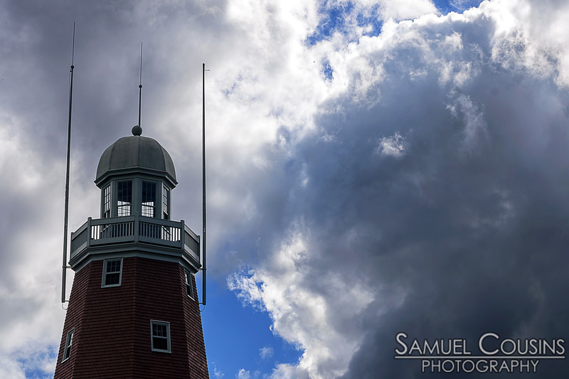 Heavy clouds behind the Portland Observatory