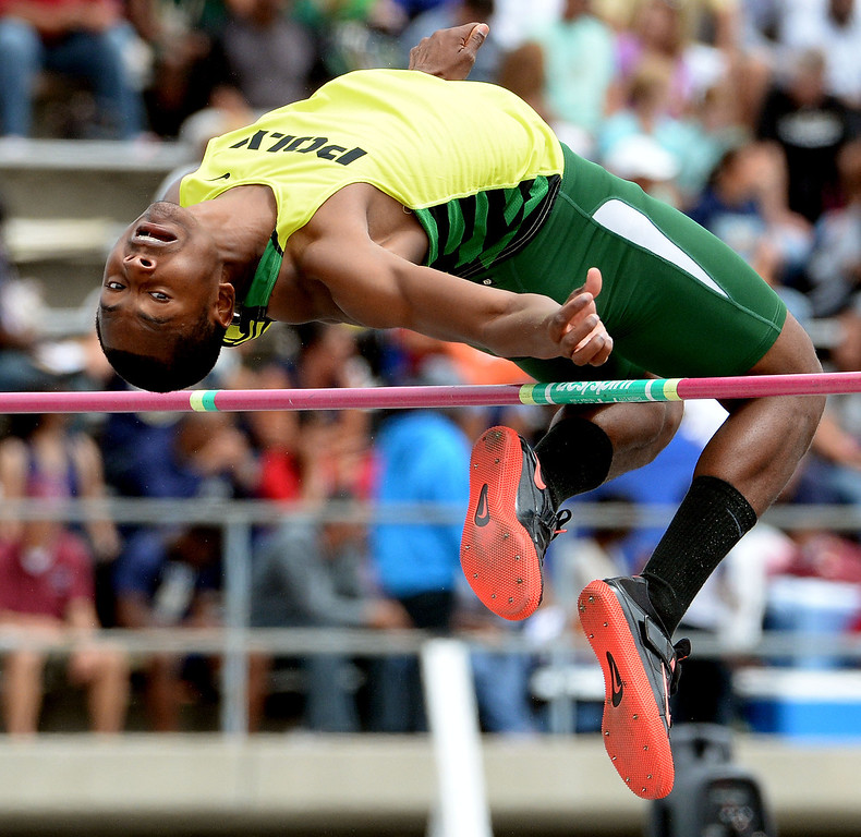 . Long Beach Poly\'s Vincent Calhoun competes in the division 1 high jump during the CIF Southern Section track and final Championships at Cerritos College in Norwalk, Calif., on Saturday, May 24, 2014.   (Keith Birmingham/Pasadena Star-News)