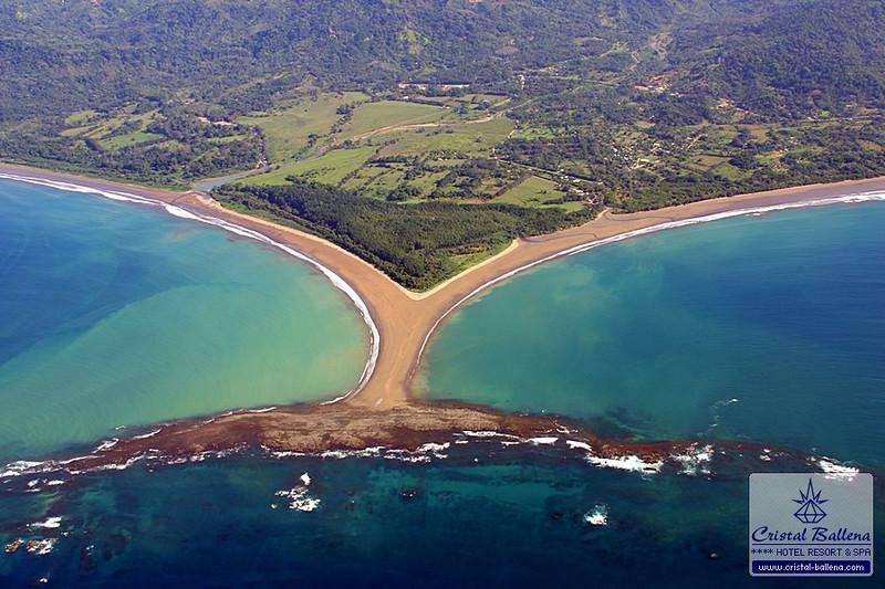 The 'Whale Tale' (Cola Ballena) at the Bahia Ballena beach is the landmark of the Marino Ballena National Park.