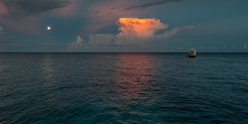 Moonrise over the Sulu Sea, Philippines.