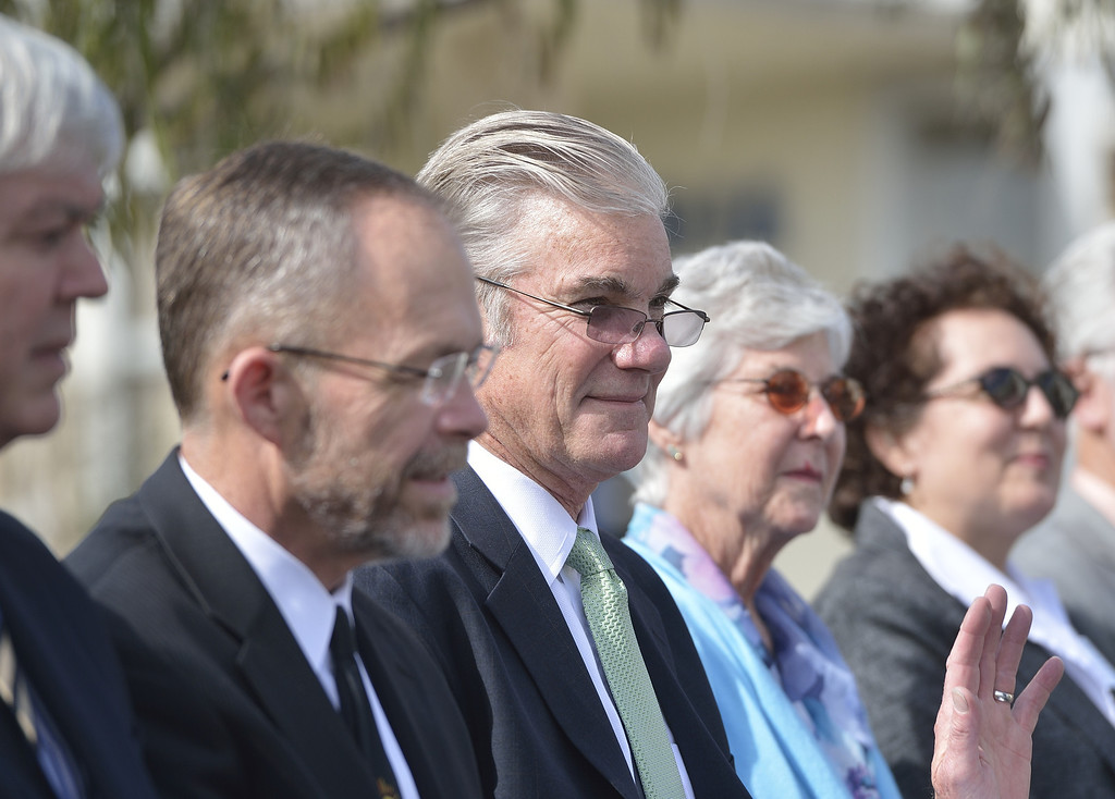 . LONG BEACH, CALIF. USA -- California Superintendent of Public Instruction Tom Torlakson, center, during a Green Ribbon nomination ceremony at Hughes Middle School from on February 15, 2013, in Long Beach, Calif. Torlakson was at the school to announce  the 2013 nominees � four schools and one school district � to compete in the second year of the U.S. Department of Education�s Green Ribbon School. Photo by Jeff Gritchen / Los Angeles Newspaper Group
