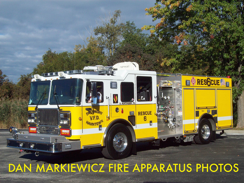 FIARMONT HAHNTOWN FIRE CO. WESTMORELAND COUNTY RESCUE 6 2010 SEAGRAVE PUMPER/RESCUE