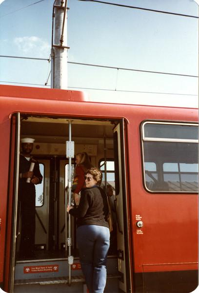 Kerri and Judy getting on the Tijuana Trolley
