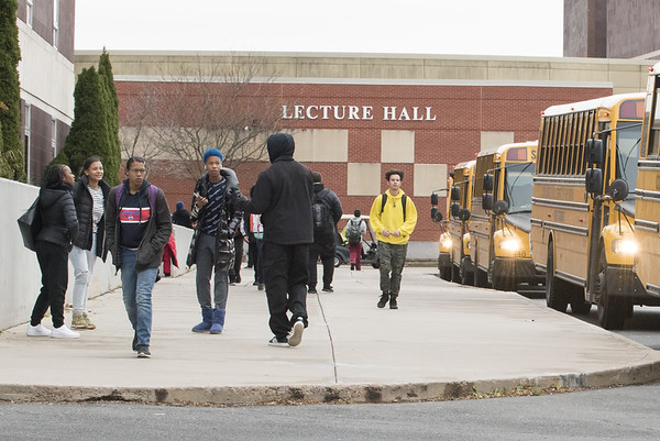 11/19/19 Wesley Bunnell | Staff Students at New Britain High School leave school grounds at the end of the day on Monday November 18, 2019.