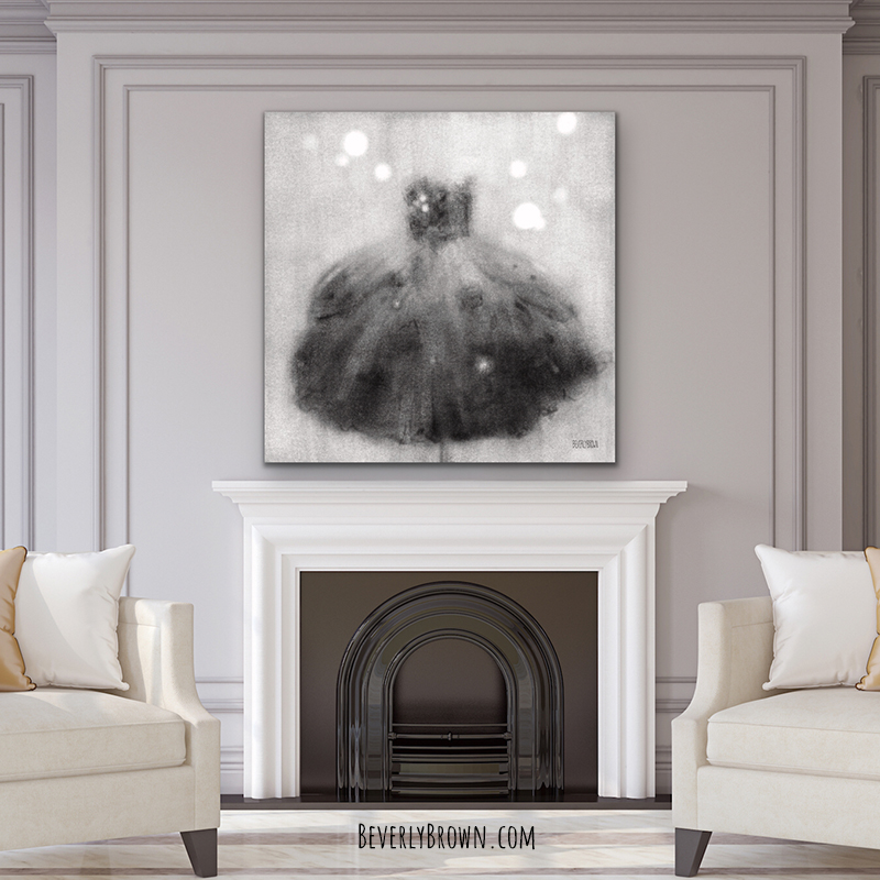 Oversized black and white fashion giclee canvas print by Beverly Brown over a fireplace in a chic, Hollywood Regency, neutral tone living room