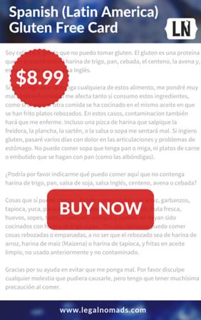 spanish gluten free restaurant card mexico peru argentina